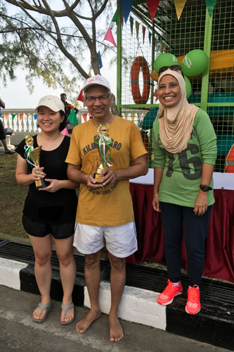 Doubles Champion - Ch'ng Lay Kee (left) and Assoc Prof Dr Ramesh with their trophies.