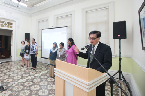 Penang Regional Centre director Teh Kim Kow (right) introduces his staff.