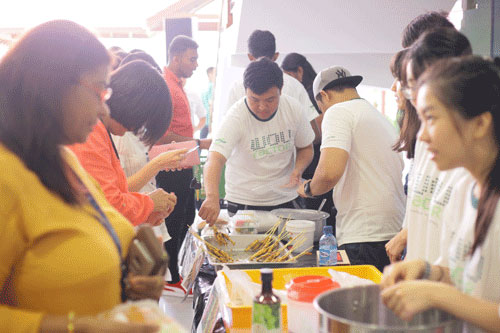 Chicken satay was popular with the WOU staff.