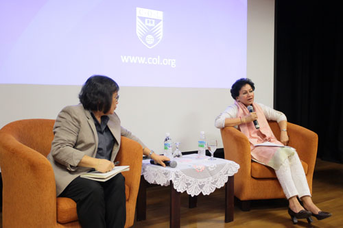 Prof Kanwar responding to questions during the Q&A moderated by Acting Vice Chancellor Prof Zoraini Wati Abas (left).
