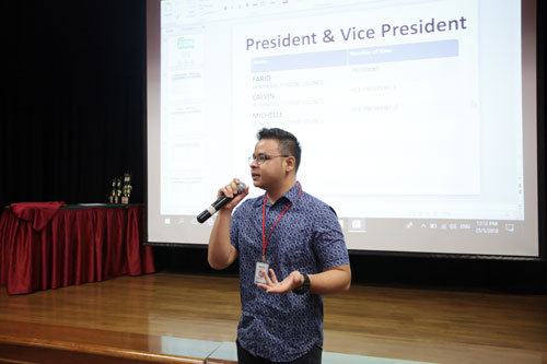 Farid takes over the helm of the OCL Student Council from Bo Zhong.