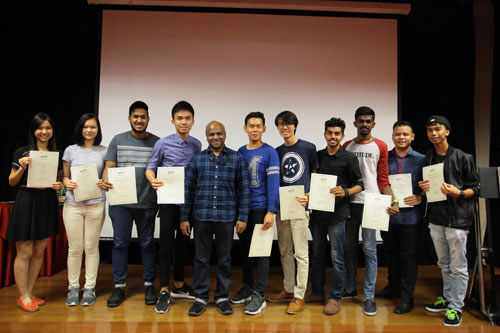 Bo Zhong and the outgoing committee members with their Certificates of Appreciation.