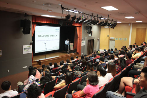 School of Humanities and Social Sciences Dean Assoc Prof Dr S Nagarajan welcomes freshmen during the orientation held at the main campus.