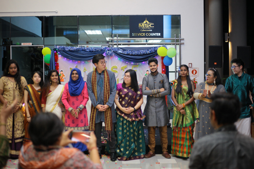 Vesti (far right), lengha (centre) and other Indian outfits at the fashion show.