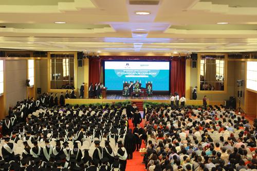 The graduation ceremony in progress.