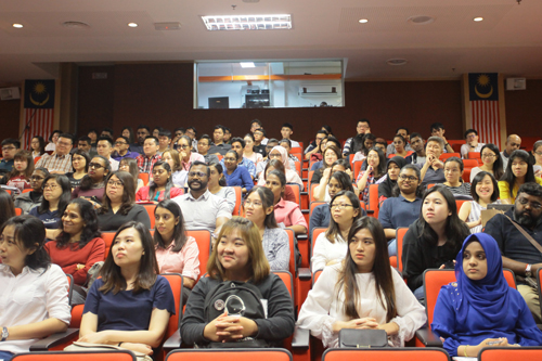 Part of the new students attending orientation at the main campus in Penang.