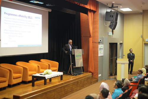 Prof Balakrishnan highlights the educational programmes at WOU.
