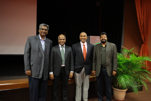From left: Dr Arivalan, School of Business & Administration Acting Dean Prakash Arumugam, Parameswaran Ayahoo from MIMOS, and moderator of talk, Assoc Prof Dr Balakrishnan Muniapan.
