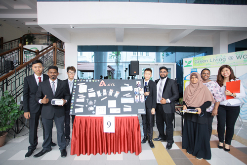 Ooi (3rd from left) and A-Eye team with judges (from right) Khor, Panimalar and Azrina.