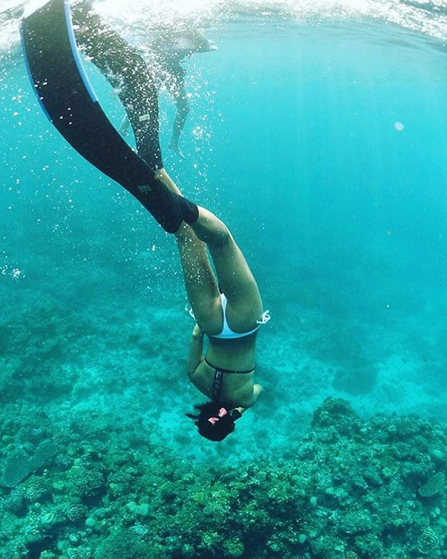 M A R M A I D 🧜🏽♀️ . . . #ocean #freediving #underwater #coral #reef #bikini #marmaid @yilunche