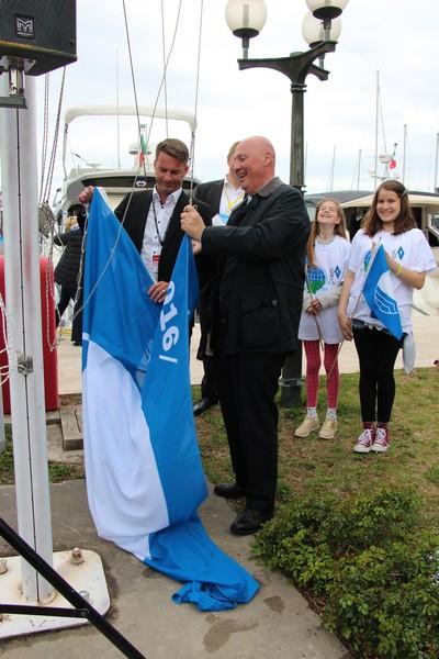 The 23rd Blue flag for Marina Portorož was raised by Mr. Roberto Perocchio, Chairman of ICOMIA Marina Group, and Mr. Sebastjan Selan, Director of Marina Portorož