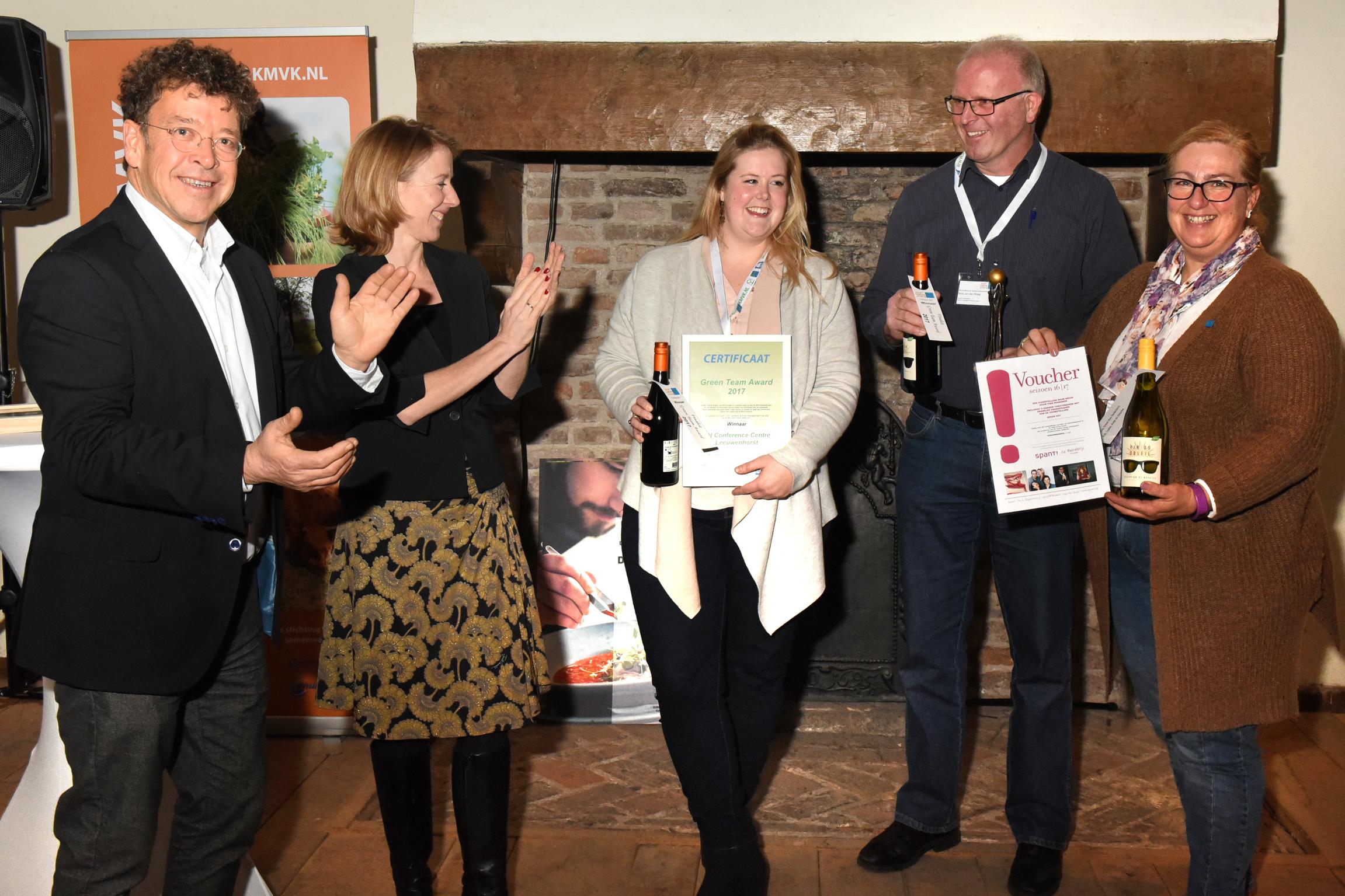 Winners of the Green Team Award 2017: NH Leeuwenhorst congratulated by Mr. Erik van Dijk (Dutch Green Key coordinator) and Ms. Stientje van Velthoven (member of the Dutch Parliament)