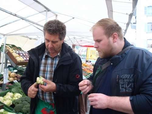 Hotel Chef visiting a local market in Switzerland