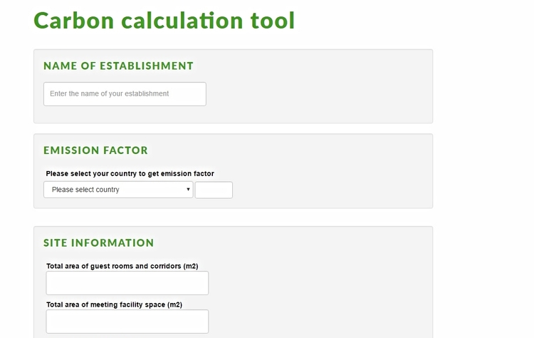 Carbon footprint tool available on Green Key website