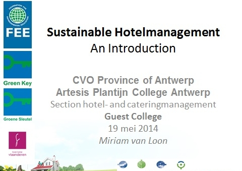 Green Key Flanders trains next generation hotel managers about Sustainability