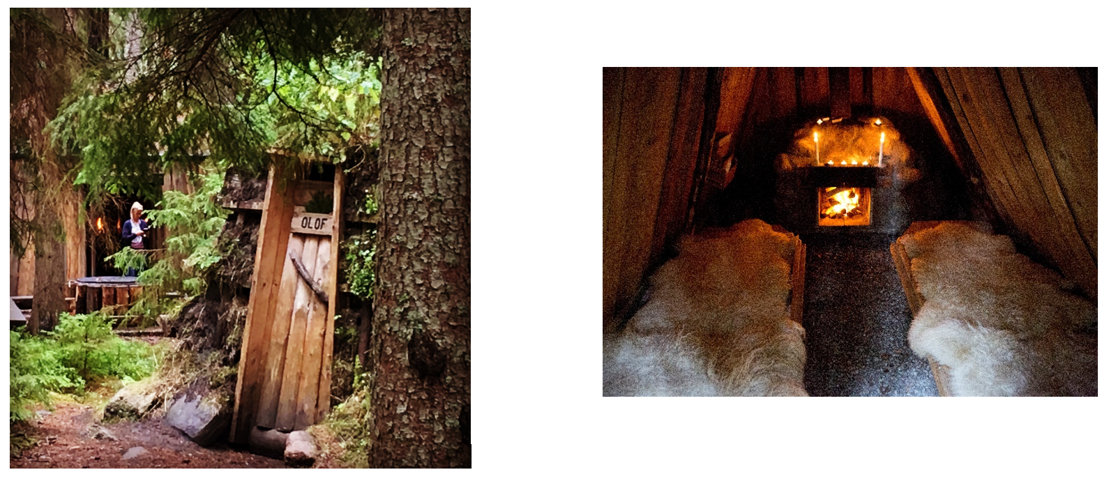 Charcoal hut at Kolarbyn Eco-lodge. Left picture taken by Malin Bruce, right picture taken bu Andreas.