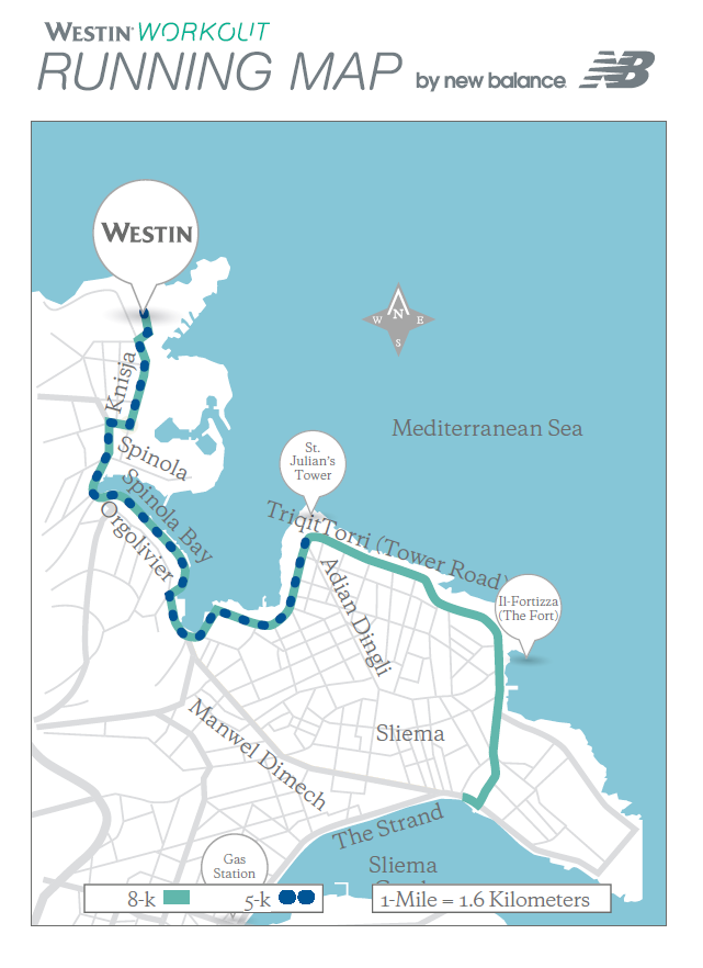 © Westin Dragonara Resort - Running map provided in each of the guest rooms