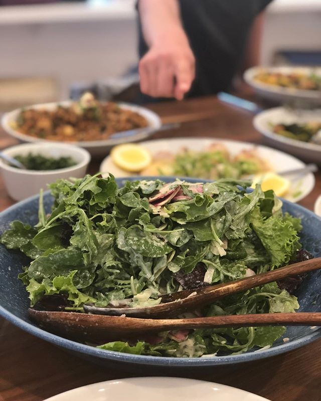 mixed lettuces with yogurt dressing. made vegan with @kitehillfoods almond yogurt by @emilyelizabethbateman! #gjelina #cookbookclub