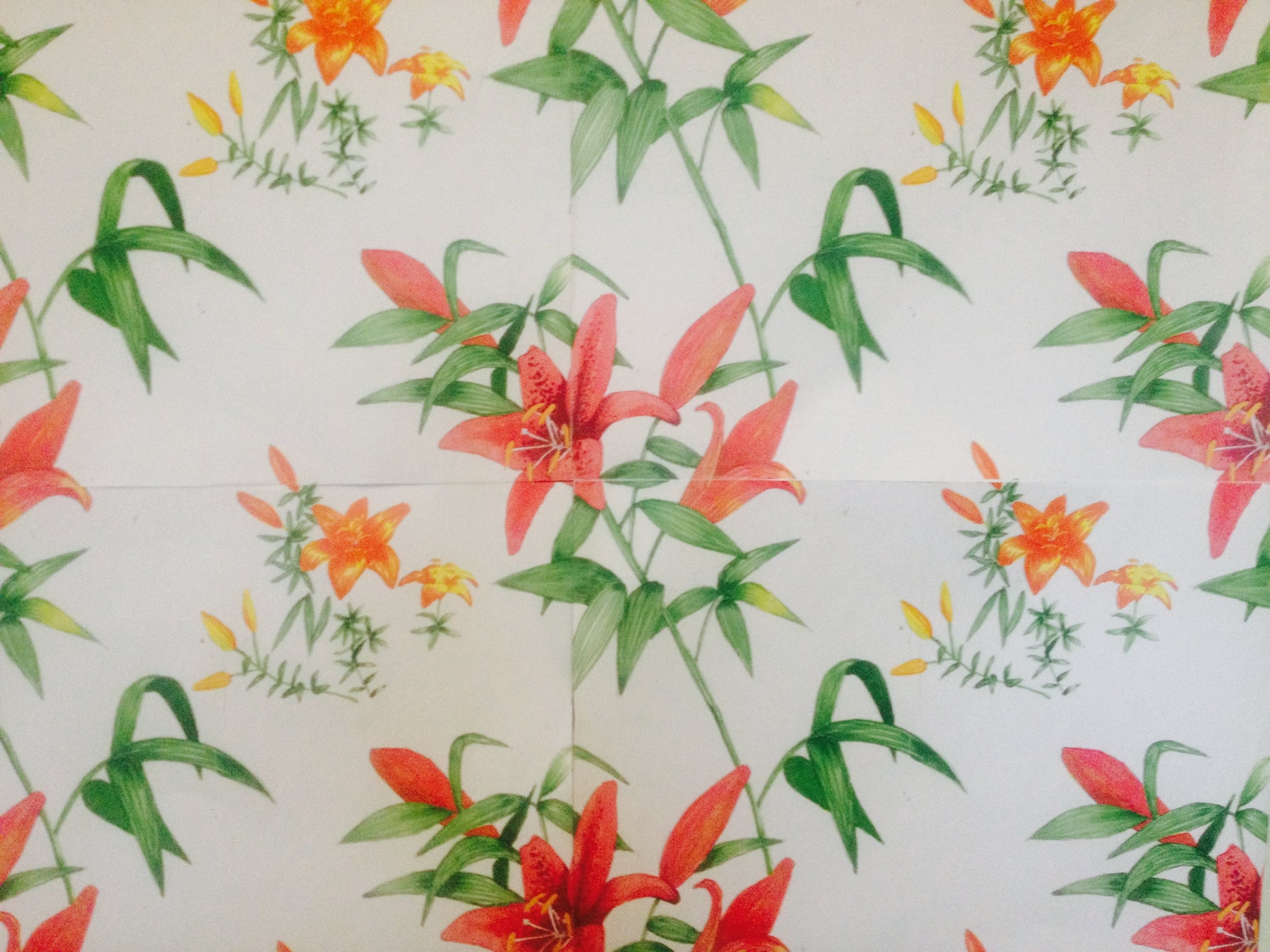 The first pattern I ever made, created during that course. Red and orange lilies and stems, drawn and colored with markers, then copied and assembled to a repeat manually with scissors and tape. I was hooked.