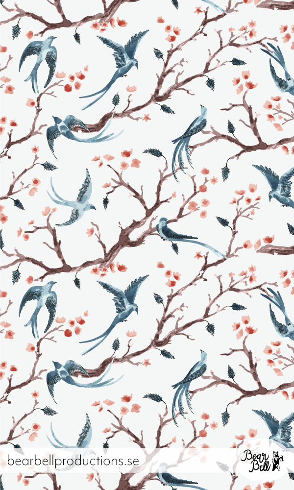 """Pattern design """"Wings & Tails"""" with birds and blossoming branches, made with watercolor by Swedish designer Bärbel Dressler at Bear Bell Productions."""