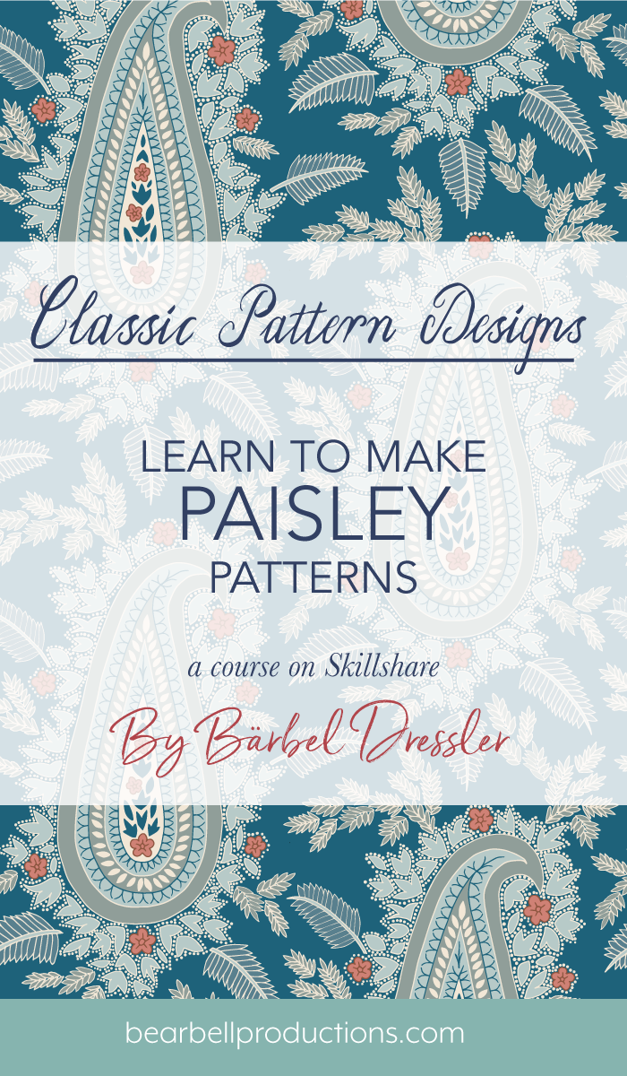 Learn how to make Paisley patterns with this course on Skillshare by Swedish pattern designer Bärbel Dressler.