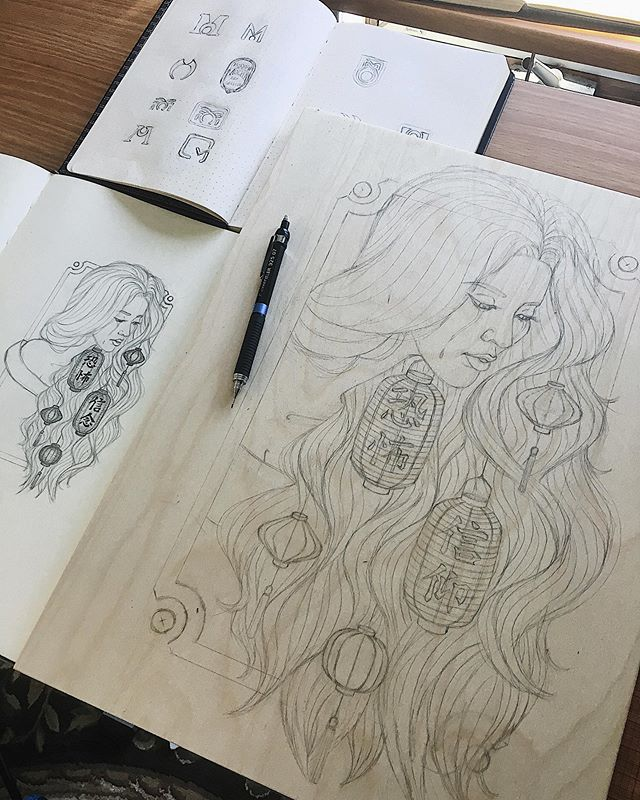 First art post since February. Grief hit my motivation hard. Here's to a new chapter and remembering life's too short to stop doing what you love✍️🏮🖤 #sketch #illustration #workinprogress #danidesignart . . . . . . . . . . #wip #woodart #conceptart #lanterns #worldofpencils #graphite #pencil #moleskine #illustrate #drawing #sketchbook #beautifulbizarre #surrealart #tears #fear #faith #kanji #phillyartist #phillyart #illustrator #designer #artistsoninstagram