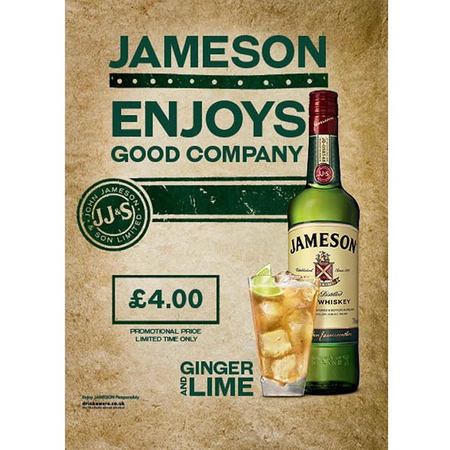 How do you like your @jamesonwhiskey? We like ours with ginger & lime 🥃 £4 for the month of April  #jameson #whiskey #jamesonirishwhiskey #gingerale #jamesongingerandlime #perfectserve #belfast #northernwhig