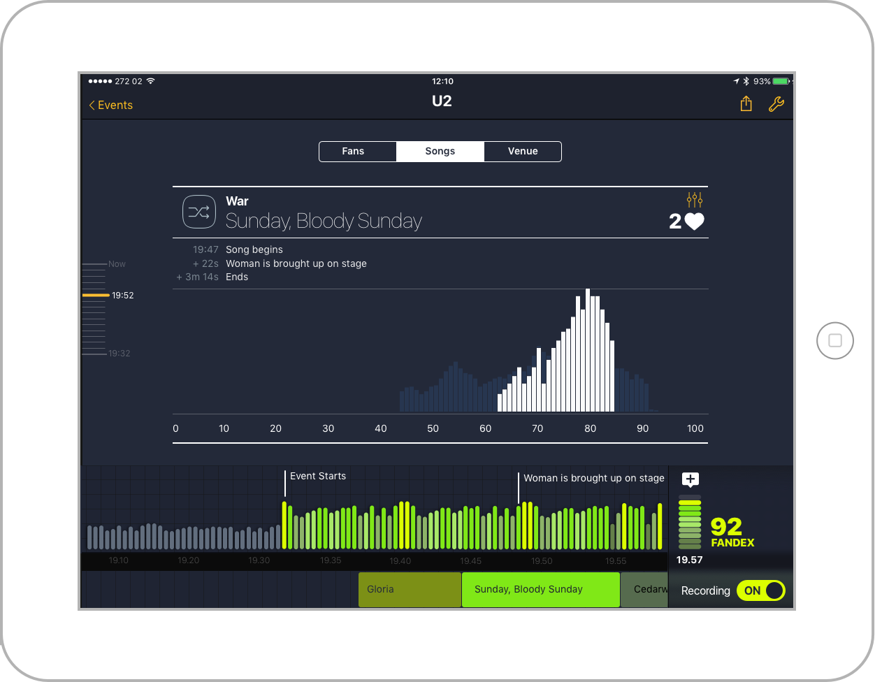 Annotate and analysis an event   Sensors capture an event in real-time, recording sounds level, movement and reactions. This data is augmented by annotation such track or action on the field.