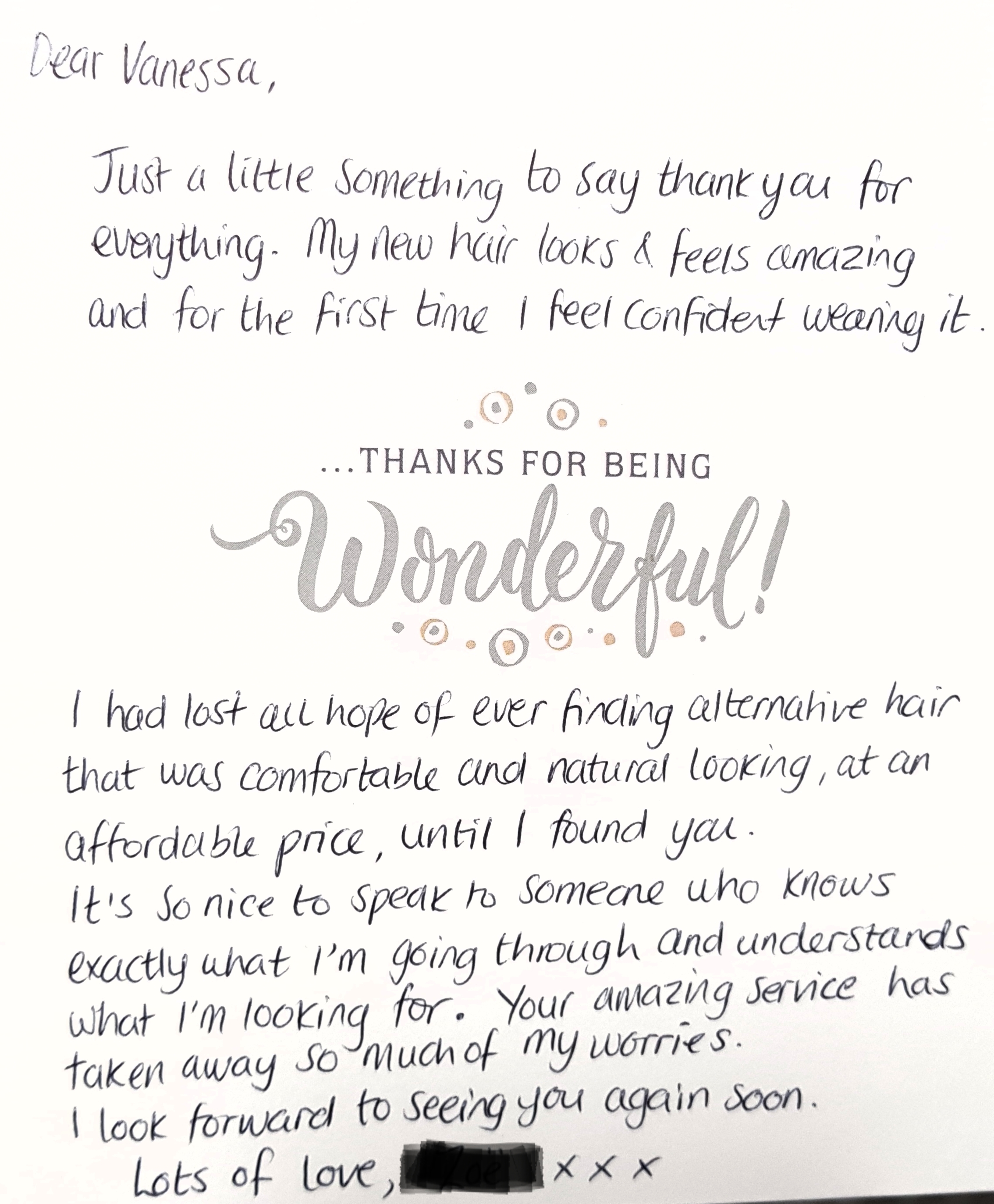 Thank you letter Glamorous Butterfly Wigs