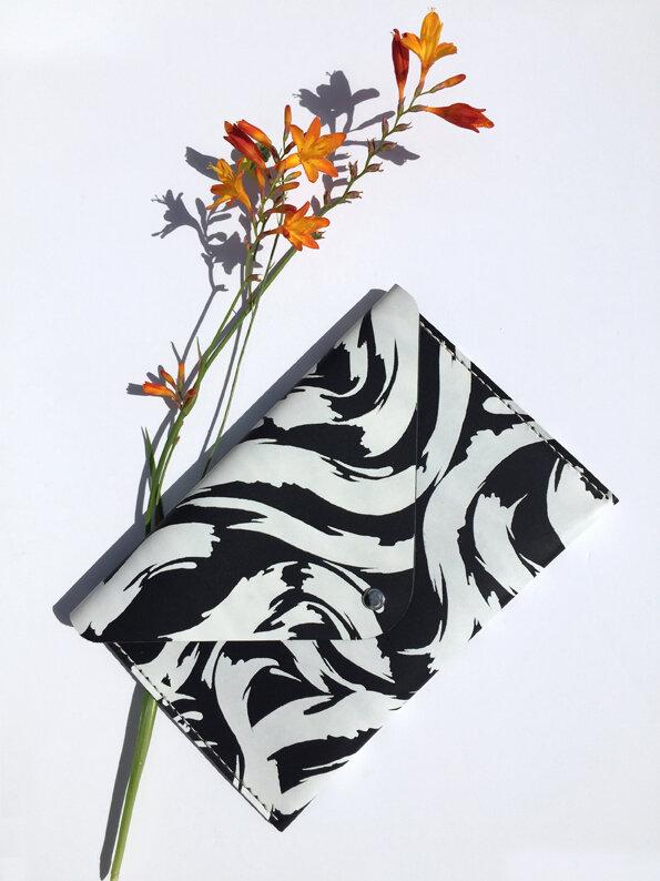 printed leather envelope clutch Joanna Vanderpuije