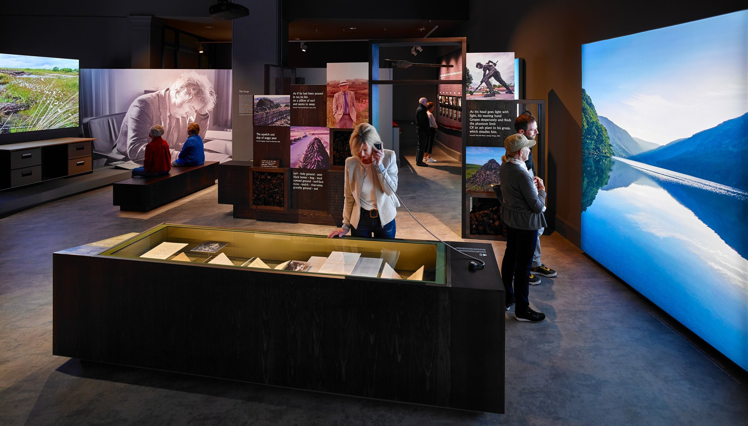 Enhancing the sense of place through words and video:  Listen Now Again, Seamus Heaney exhibition, National Library Exhibition