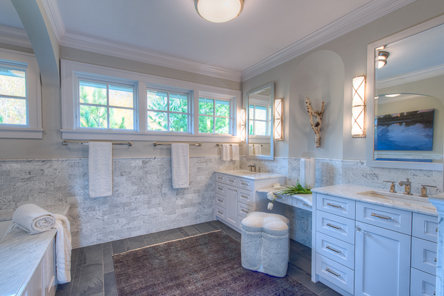 Edina Owner's Suite Bathroom Remodel with His & Her Vanity  Even a bathroom in a virtually new house can suffer from poor design. This owner's suite makeover fixed a lot, improved a lot, and brought a lot more functionality and beauty to this home.