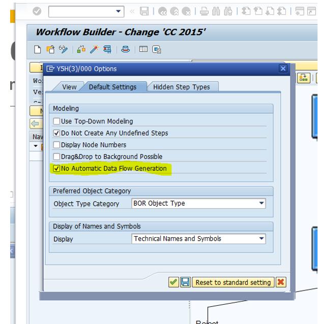"Personal workflow settings tab ""Default settings"" extended"