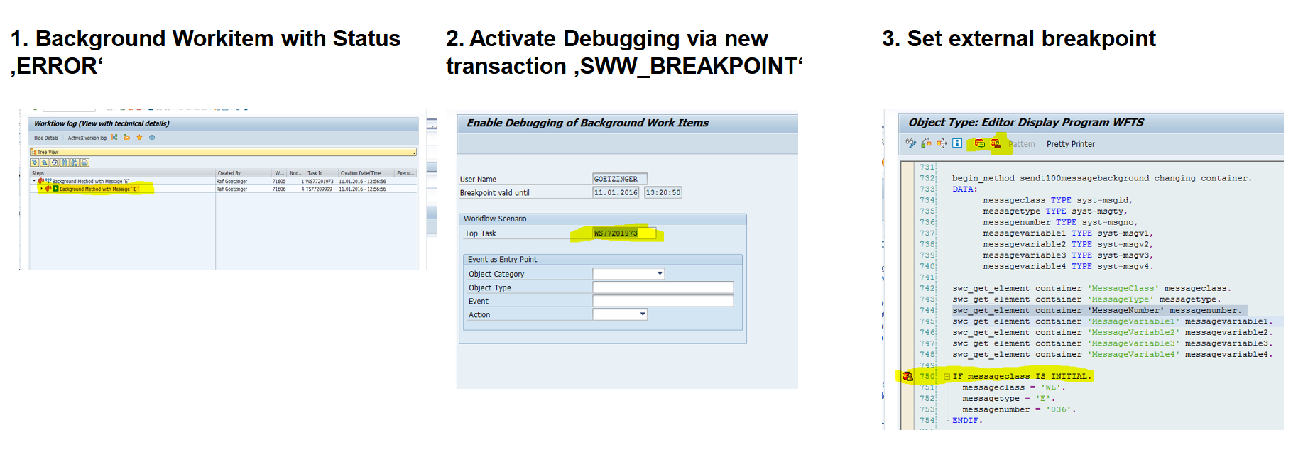 Debugging-mode for workflow background tasks - 1