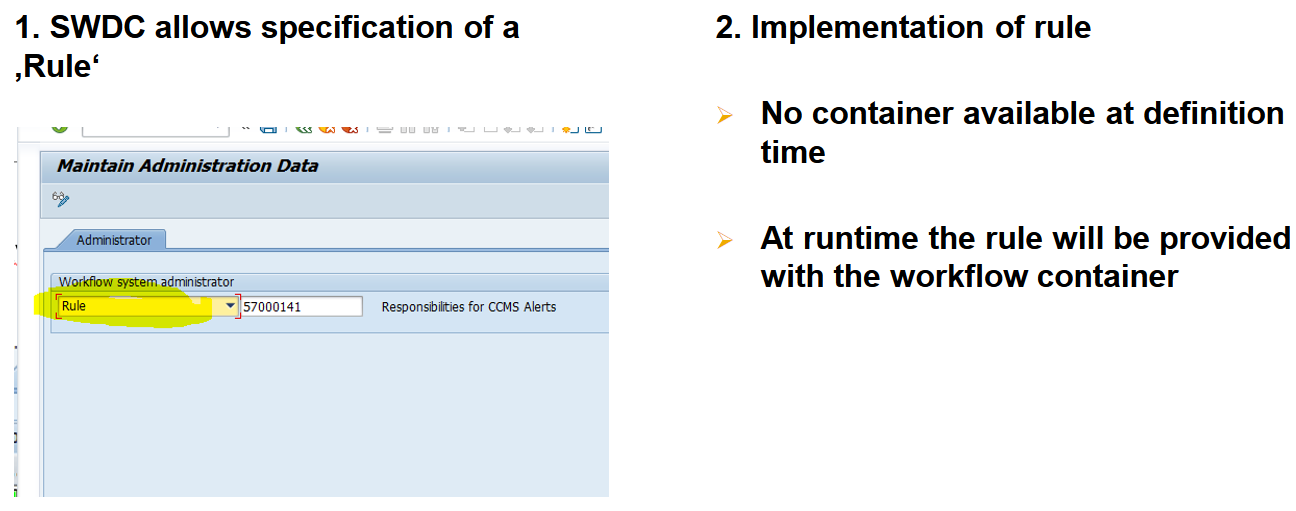 Enable WF-Admin to be specified (via SWU3) to a rule or responsibility