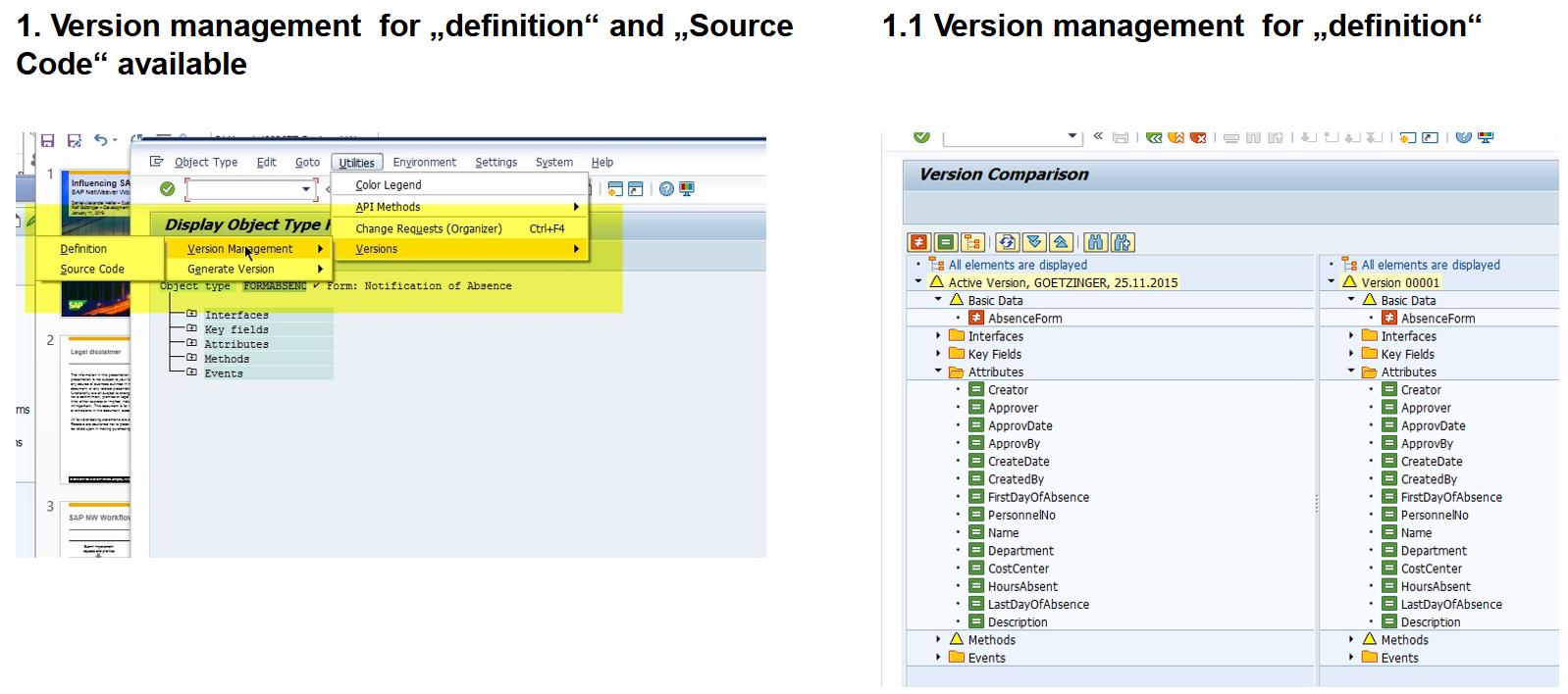 Version management for SWO1 BOR editor