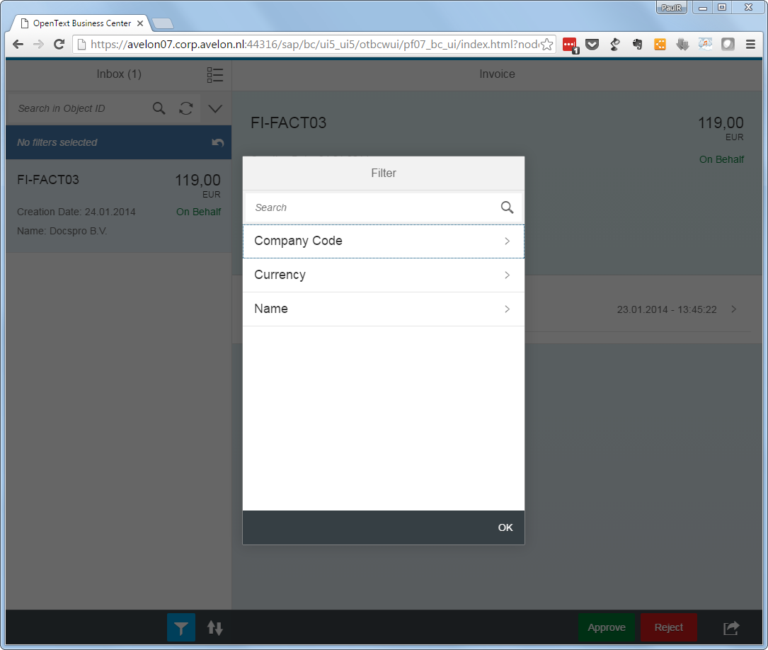 Fiori invoice app filer options