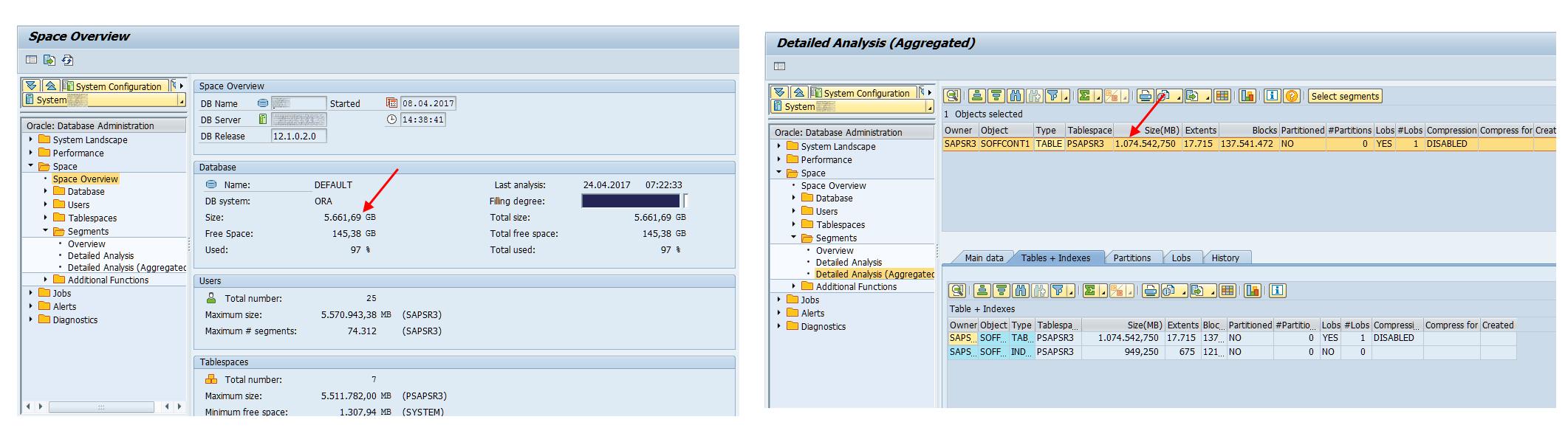 SAP Database grootte