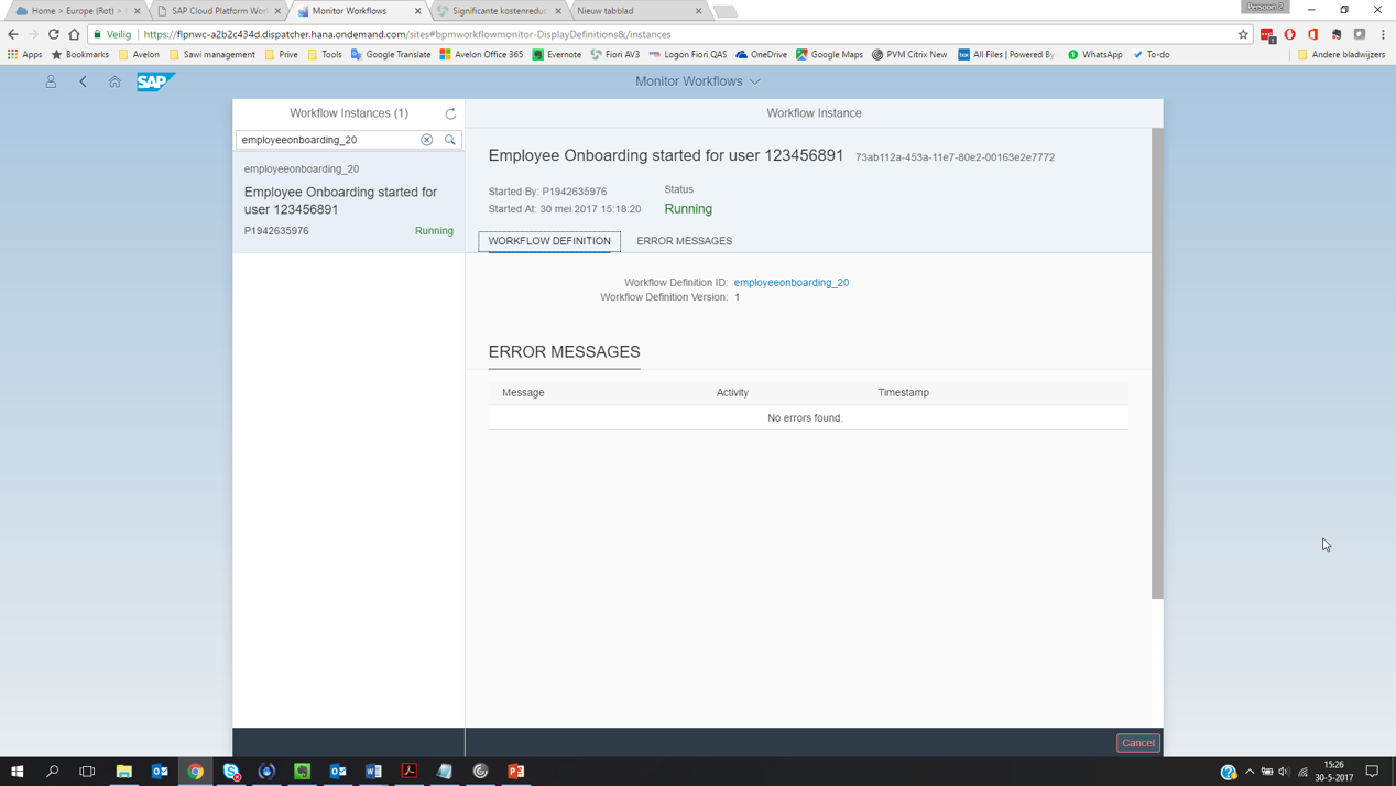 Monitor Workflow - Instances