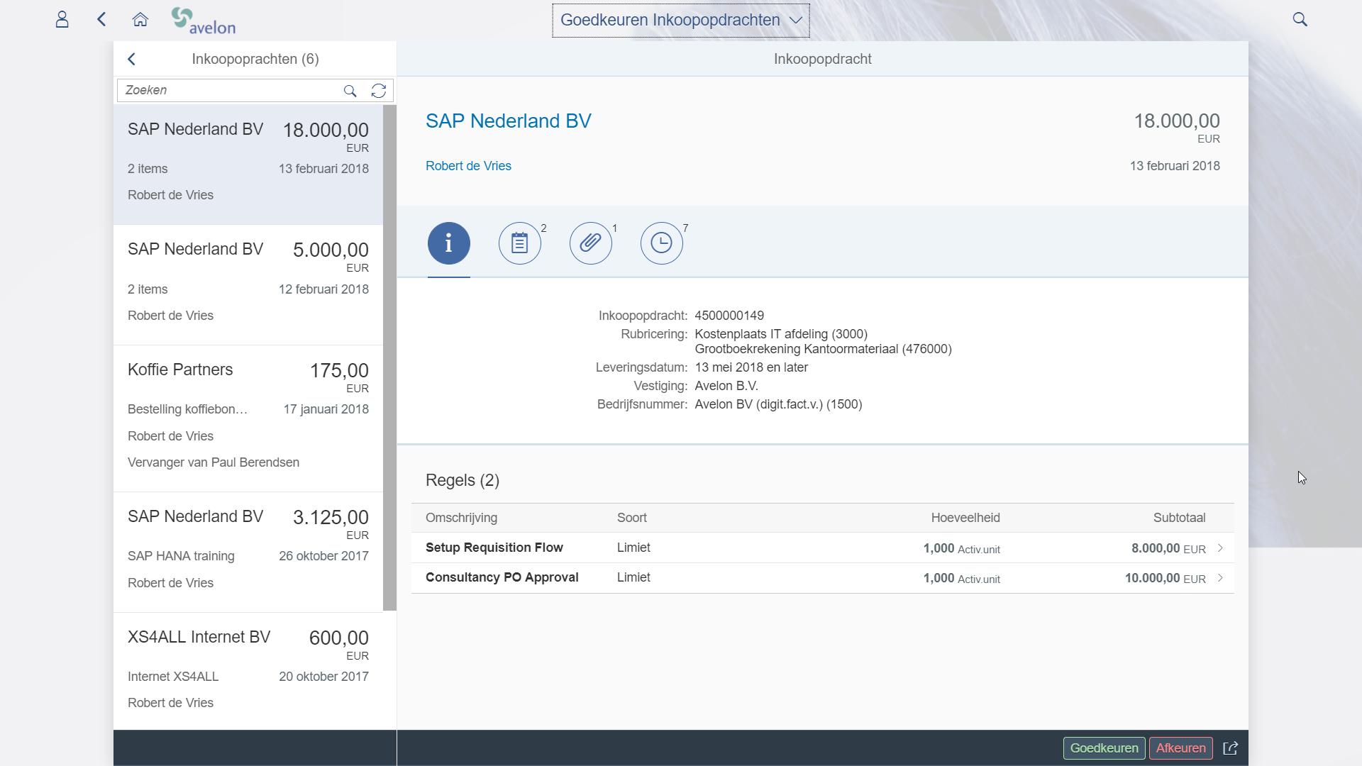 SAP Fiori goedkeuren bestellingen