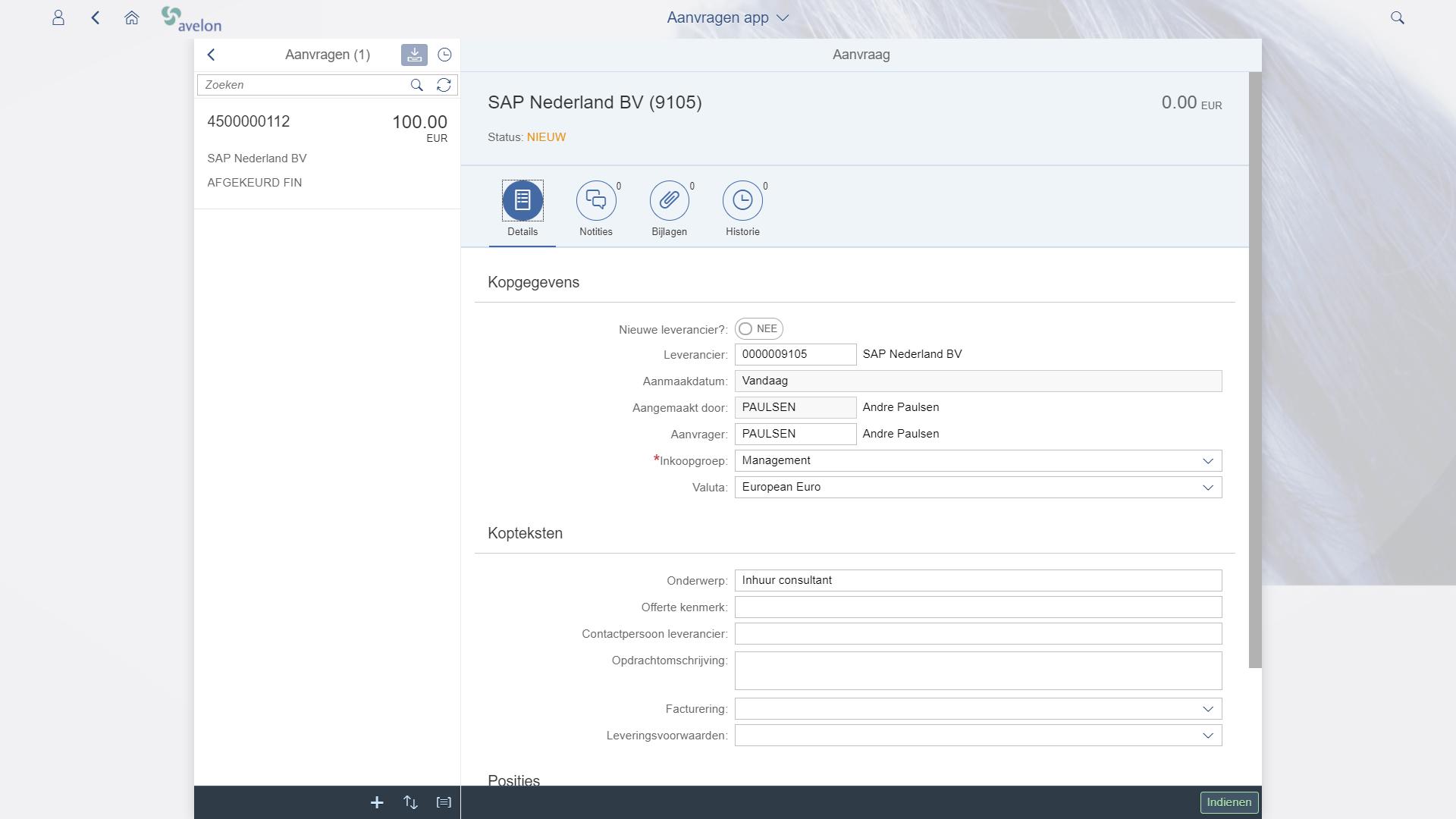 SAP Fiori aanleggen bestelling