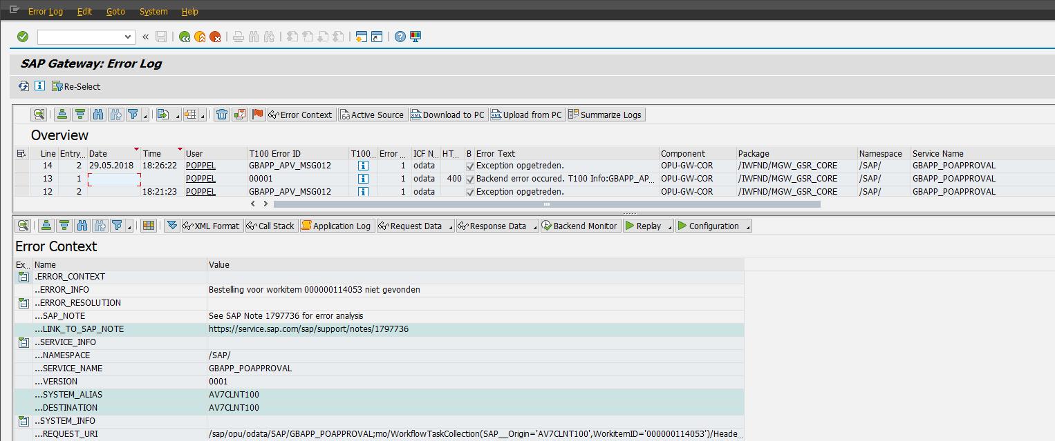 Figuur 6: Error log SAP NetWeaver Gateway
