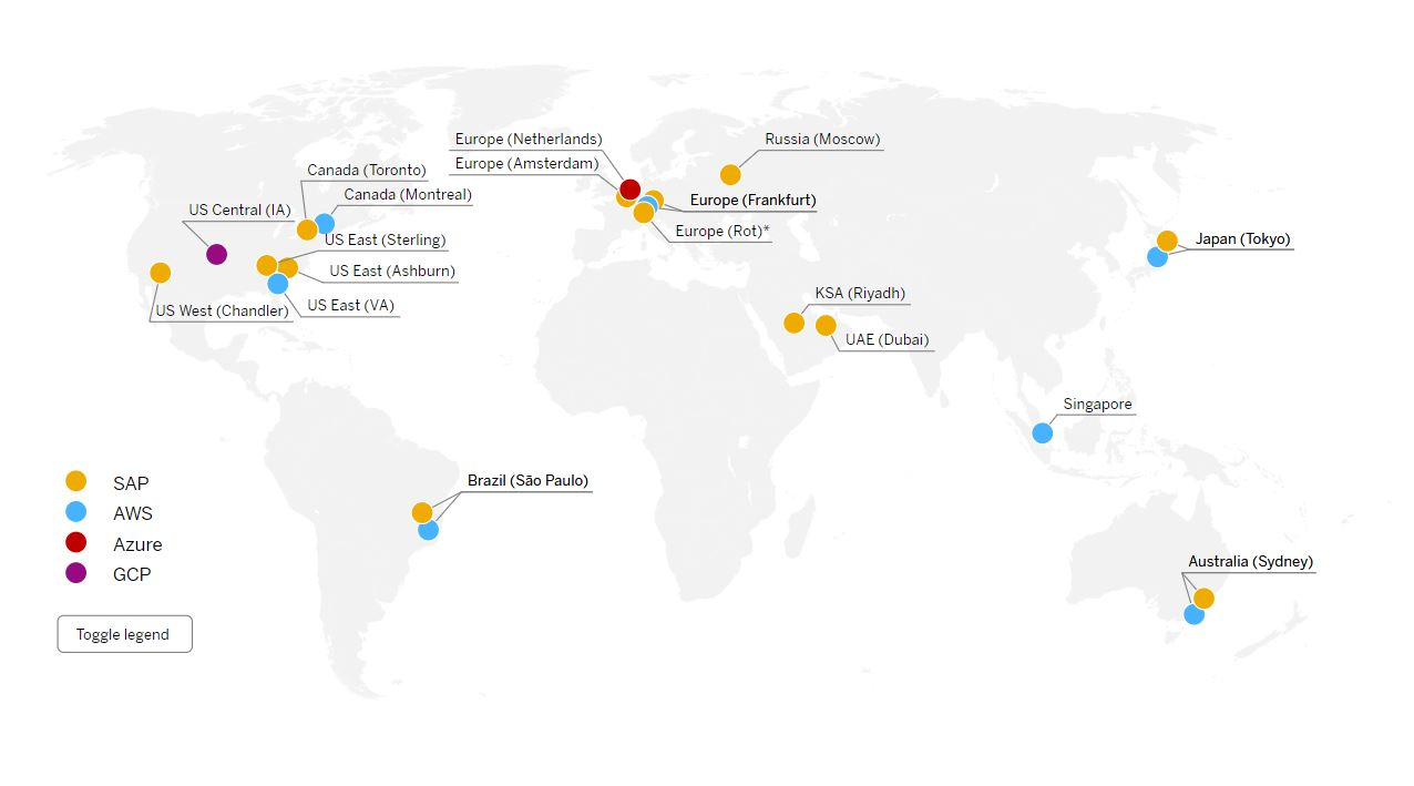 Figuur 7 - SAP Cloud data center locaties