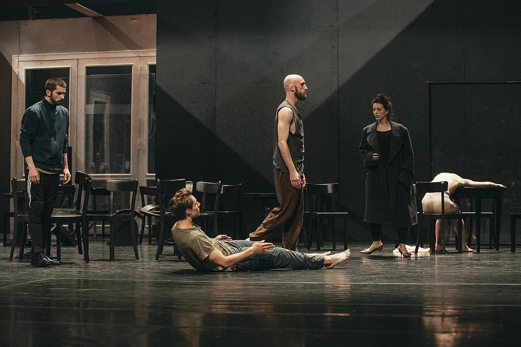 Juliet Burnett, Matt Foley, Alexander Burton and Hector Ferrer in rehearsal for Pina Bausch's Café Müller