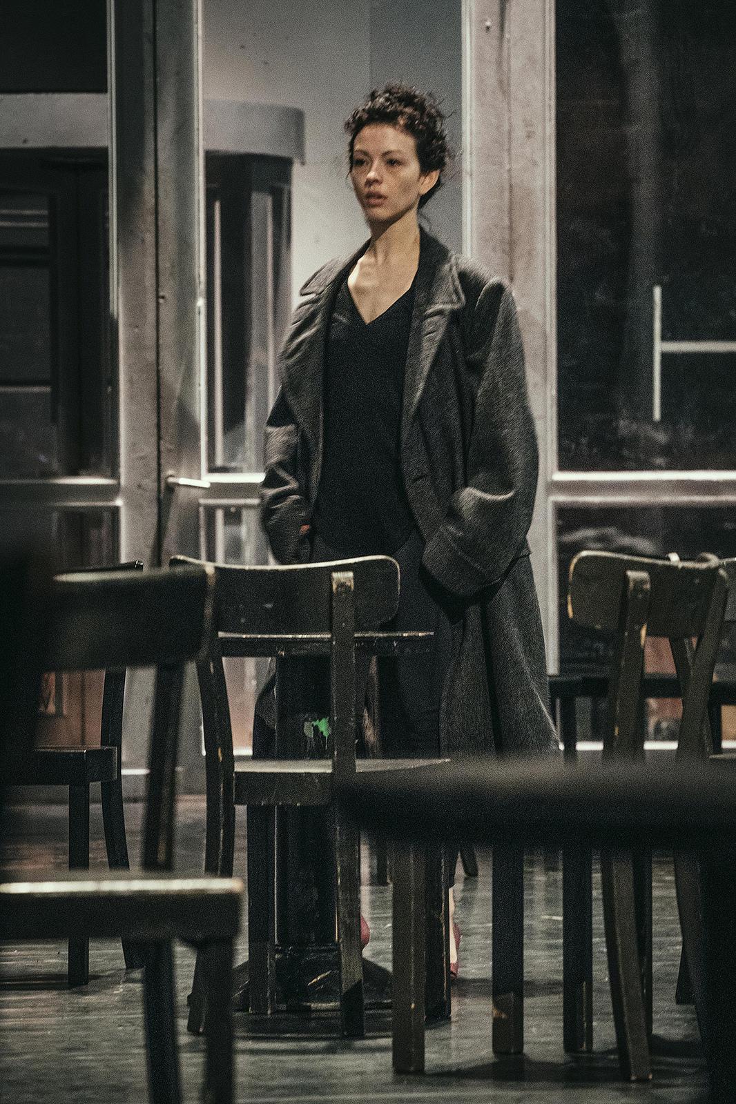 Juliet Burnett in rehearsal for Pina Bausch's Café Müller