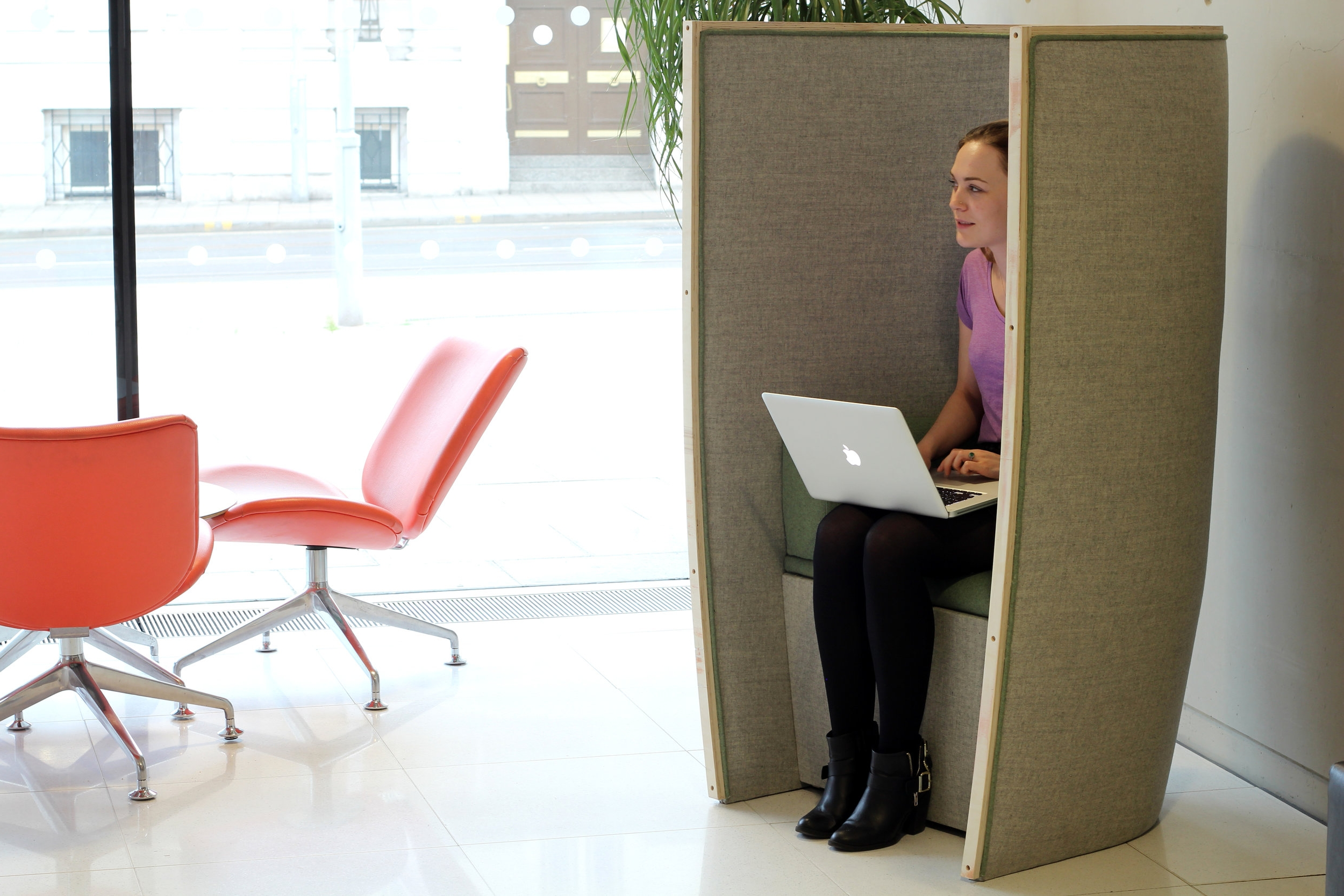 SEED - Concept acoustic booth designed for an open plan co–working space.