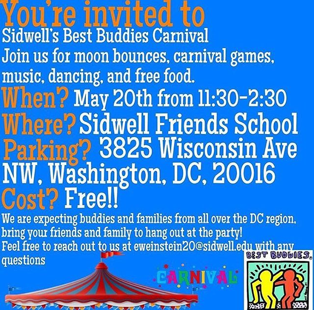 We're performing at the best buddies carnival at Sidwell this Sunday, hope to see you there!