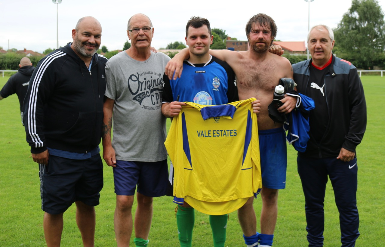 Andy is presented with the shirt - all signed by today's attendees - he wore when he scored versus FC United of Manchester way back in the 2005-06 season