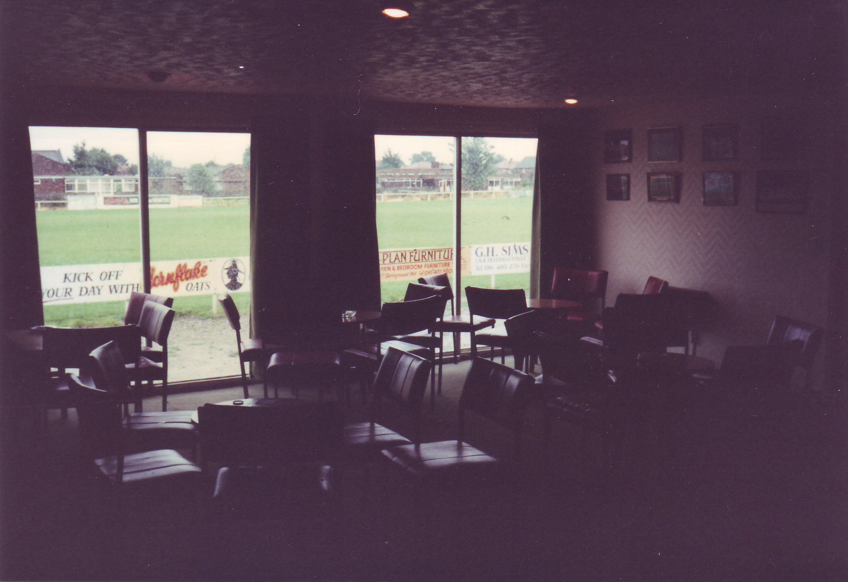 When it was first built, the (now demolished) clubhouse had patio doors that ran full height along the length of the building. Sadly these were broken by stray balls far too many times!
