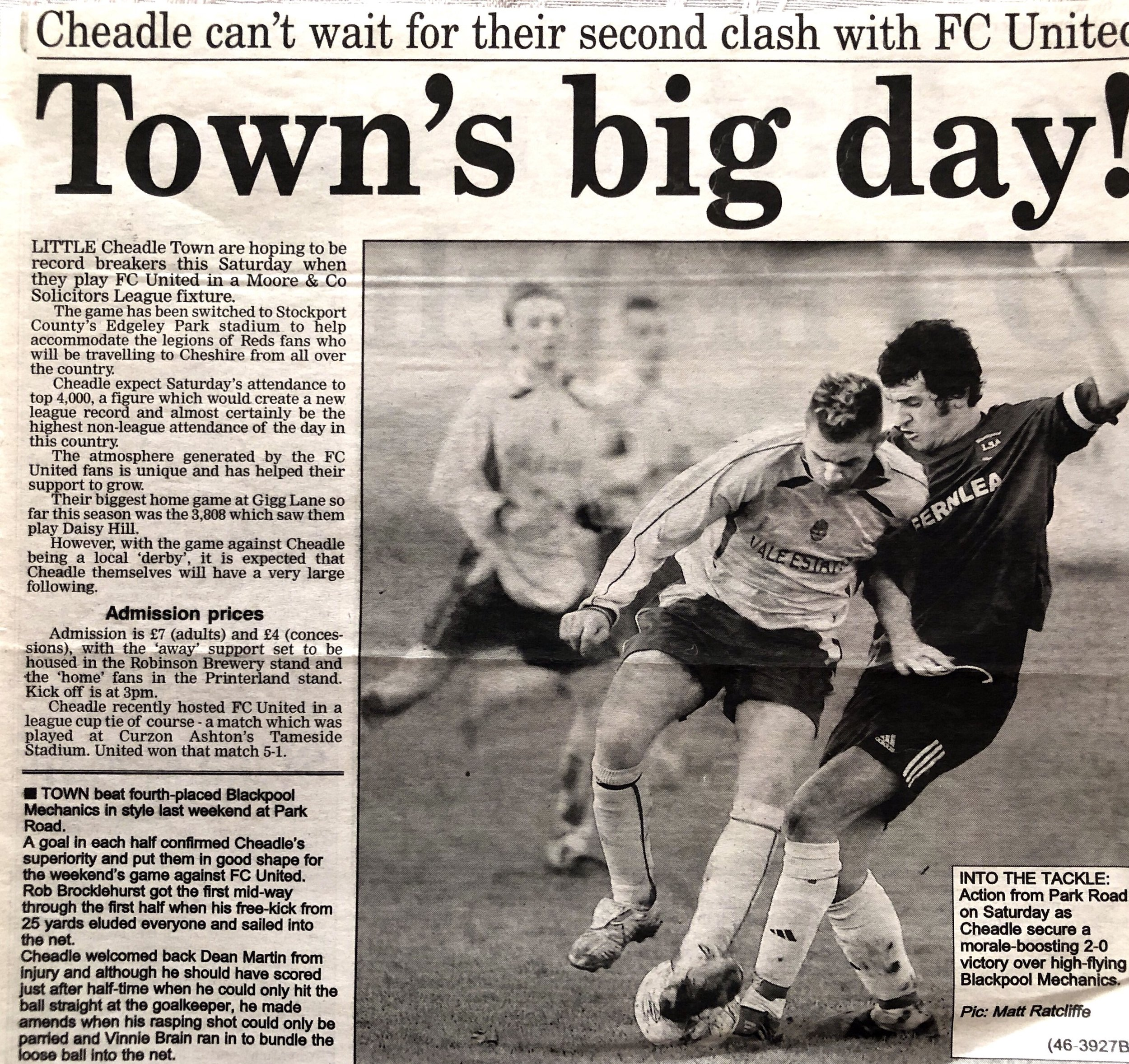 During the 2005-06 season the NWCFL Division One was graced with the presence of FC United of Manchester. This article was ahead of the first league clash between the two clubs.